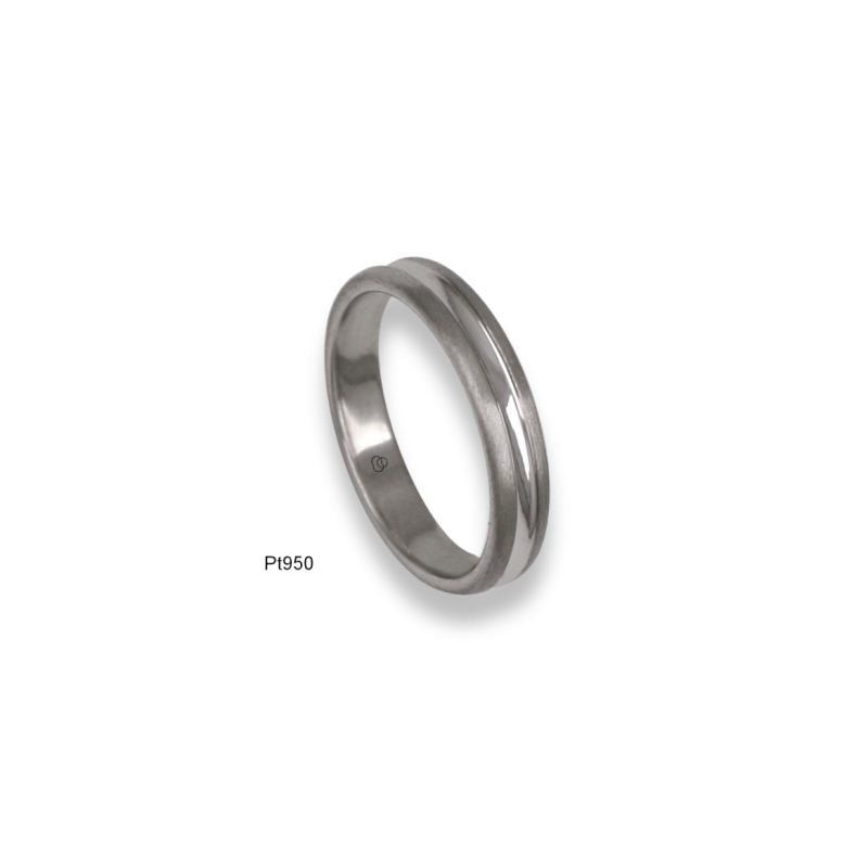 950 Platinum ring / wedding ring, satin finish at the sides and polished at the center, model bb24-61tp_d