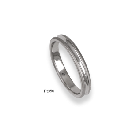 950 Platinum ring / wedding ring, soft brush finish at the sides and polished at the center, model mb63-61tp_d