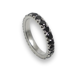 Engagement ring in white gold 18k with black diamonds - model Celebrity - Unisex
