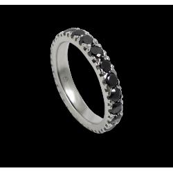 Кольцо обручальное из белого золота с черными бриллиантами - модели Celebrity - Unisex