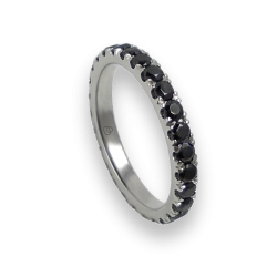 Engagement ring in white gold with black diamonds - model Privilege - unisex