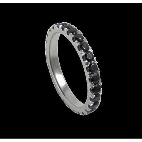 Кольцо обручальное из белого золота с черными бриллиантами - модель Privilege - Unisex