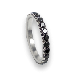 Engagement ring in white gold with black diamonds - model Passion - unisex