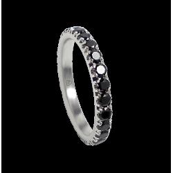 Кольцо обручальное из белого золота с черными бриллиантами - модель Passion - Unisex