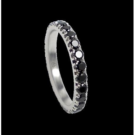 Anello fidanzamento in oro bianco con diamanti neri - modello Passion - unisex