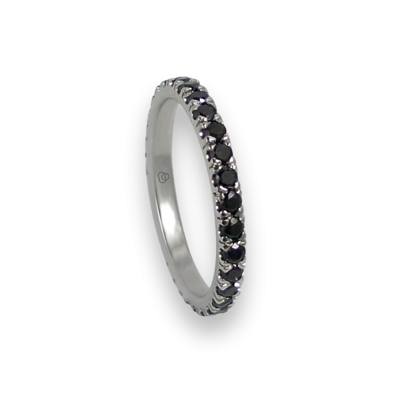 Кольцо обручальное из белого золота с черными бриллиантами - модель Daring - Unisex