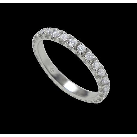 Anello fidanzamento in oro bianco con diamanti bianchi - modello Prestige