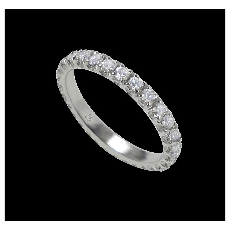 Кольцо обручальное из белого золота с белыми бриллиантами - модель Prestige
