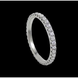 Кольцо обручальное из белого золота с белыми бриллиантами - модель Light