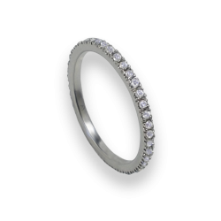 Engagement ring in white gold with white diamonds - model Simplicity