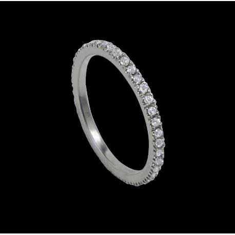 Кольцо обручальное из белого золота с белыми бриллиантами - модель Simplicity