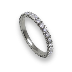 Engagement ring in white gold with white diamonds - model Intuition