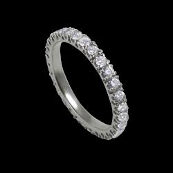 Кольцо обручальное из белого золота с белыми бриллиантами - модель Intuition