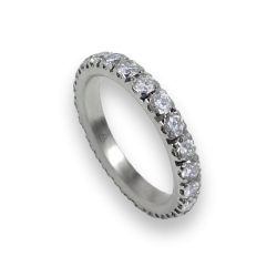 Engagement ring in white gold with white diamonds - model Intensity