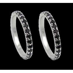 fedi nuziali in oro bianco e diamanti neri