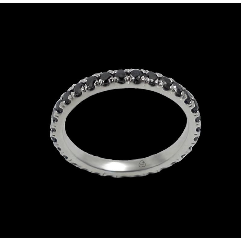 Anello in oro bianco con diamanti neri - modello Daring1