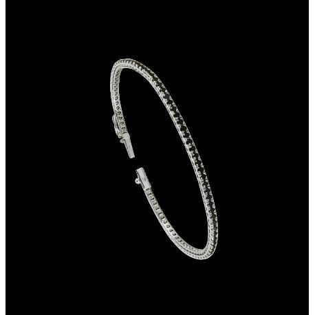 Bracciale Tennis in oro bianco 18 kt e diamanti neri - Modello Black