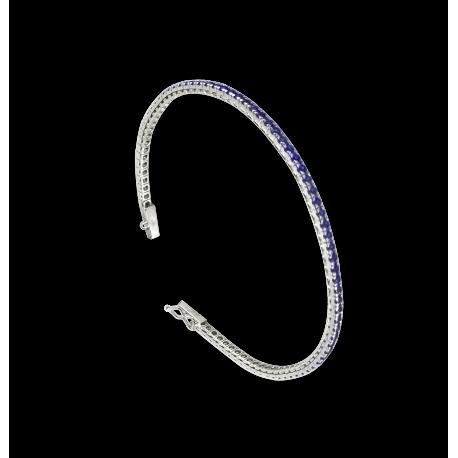 Bracciale Tennis in oro bianco 18 kt e zaffiri blu - Modello Sapphires