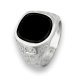 Men ring in white gold with black onyx - model Onix1