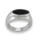 Men ring in white gold with black onyx - model Onix3