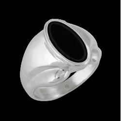 Anello uomo in oro bianco con Onice nero - modello Onyx5