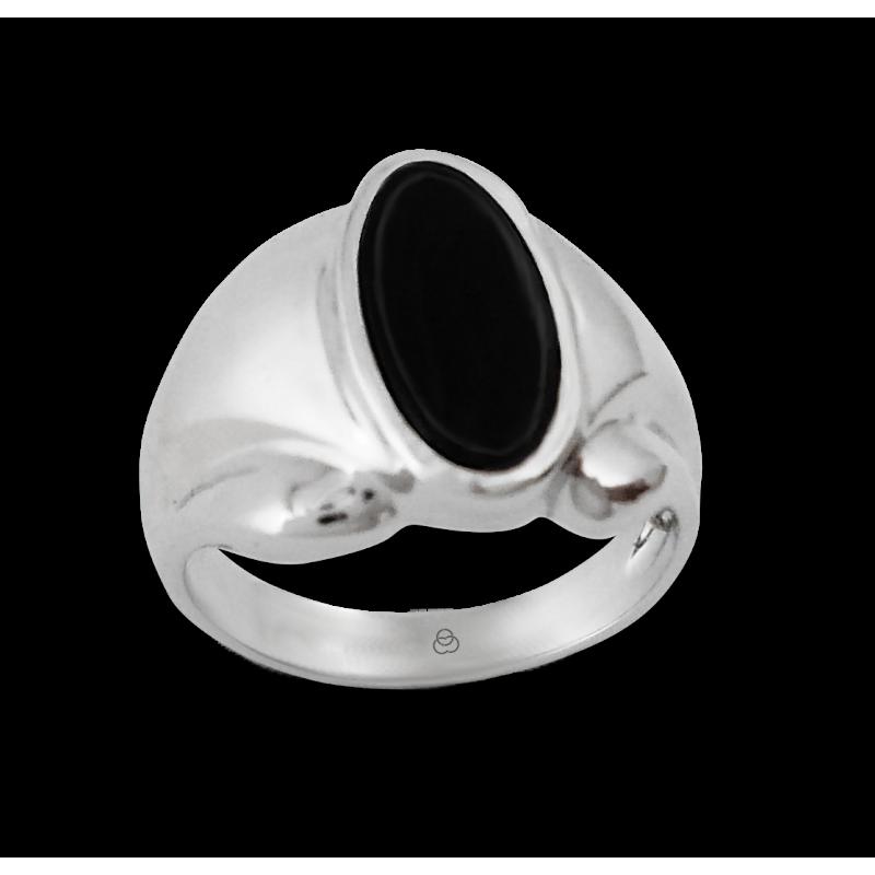 Мужской перстень из белого золота с черным Ониксом - модель Onyx5