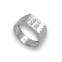 Men ring in white gold with white diamonds - model Dia1
