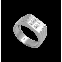 Мужской перстень из белого золота с белыми бриллиантами - модель Dia1