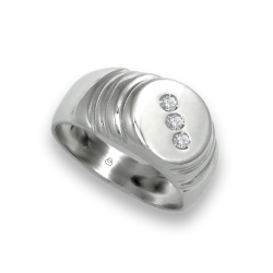 Men ring in white gold with white diamonds - model Dia3