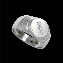 Мужской перстень из белого золота с белыми бриллиантами - модель Dia3