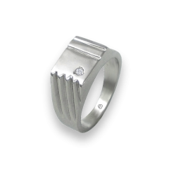 Men ring in white gold with white diamond - model Dia4