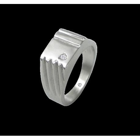 Мужской перстень из белого золота с бриллиантом белый - модель Dia4