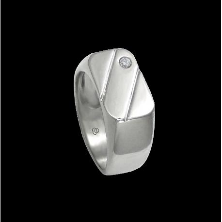 Men ring in white gold with white diamond - model Dia5