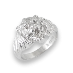 Человек кольцо в белом золоте с головой льва - модель Lion