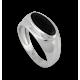 Мужской перстень из белого золота с черным Ониксом - модель Onyx3