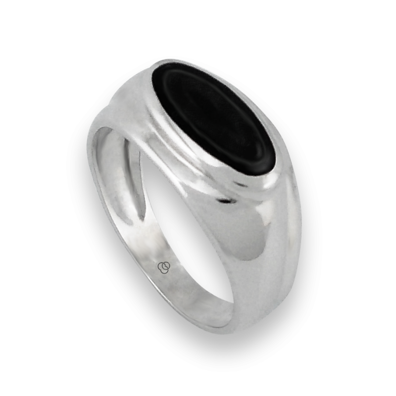 Men ring in white gold with black onyx - model Onix3 - Ringsinfinity