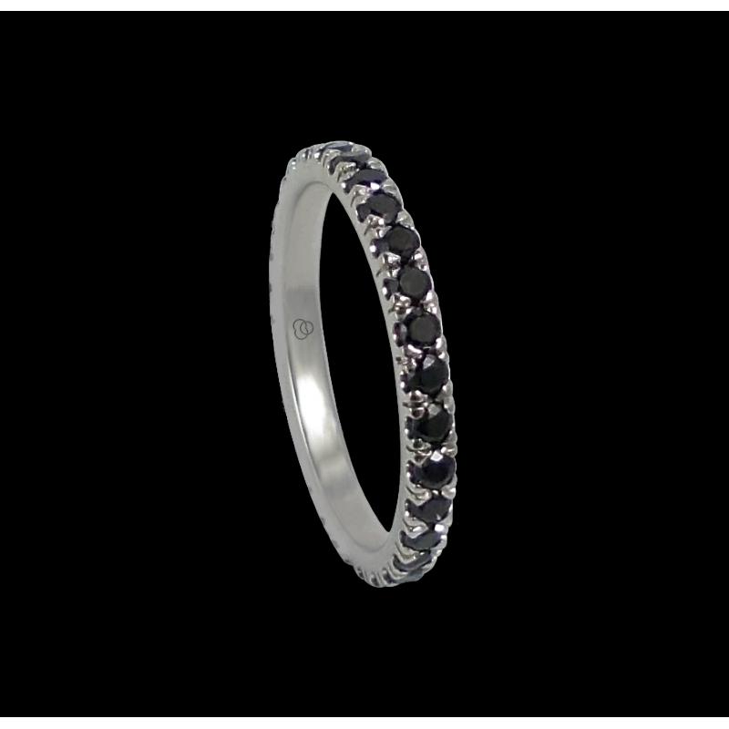 Anello in oro bianco con diamanti neri - modello Daring2