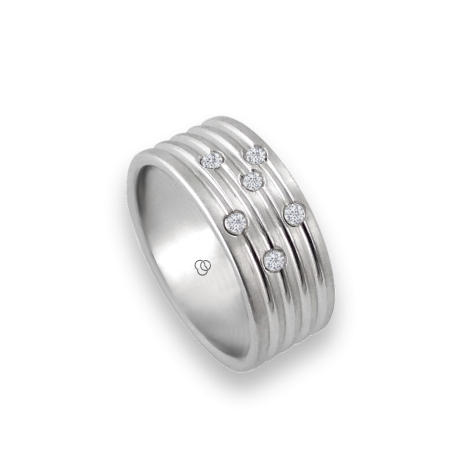 Men ring in white gold with six white diamond - model Narrow Rows