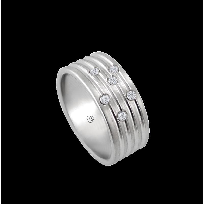 Мужской перстень из белого золота с белыми бриллиантами - модель Narrow Rows