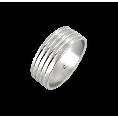 Мужской перстень из белого золота - модель Narrow Rows 2