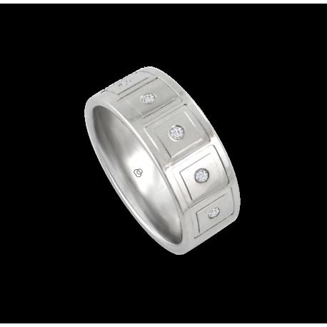 Мужской перстень из белого золота с пятью белыми бриллиантами - модель Squares