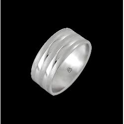 Мужской перстень из белого золота - модель Large Rows
