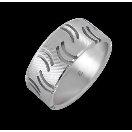 Мужской перстень из белого золота - модель Quotation marks