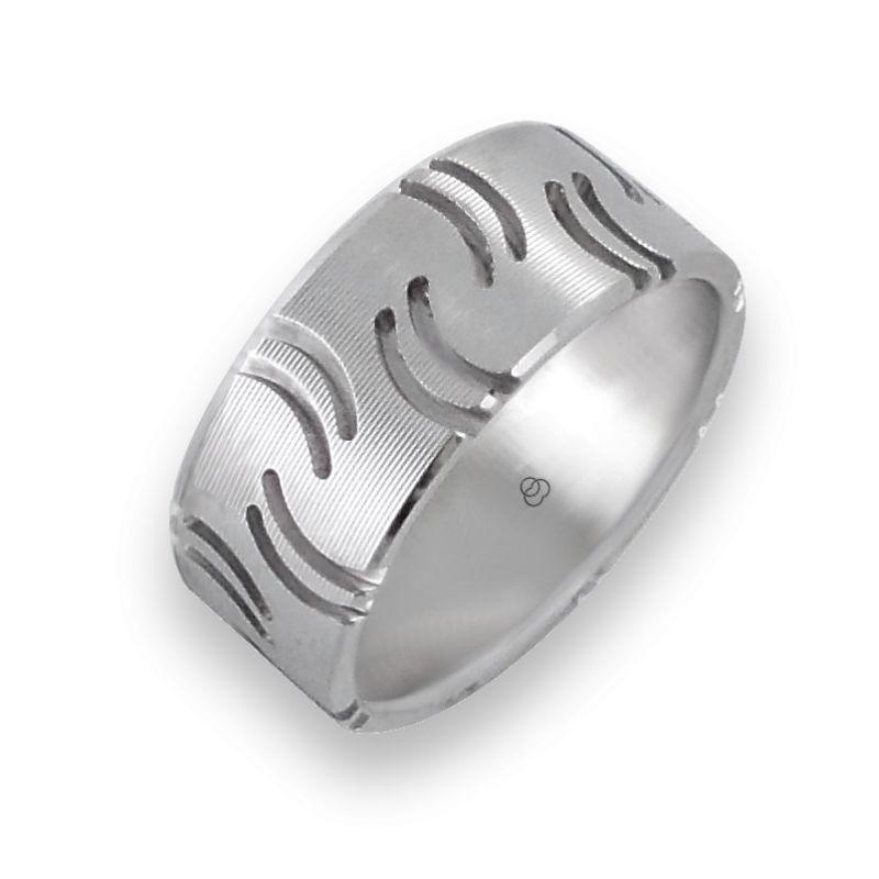 Men ring in white gold - model Quotation Marks