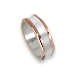 Men ring in rose and white gold - model Satin Hexagonal