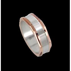 Мужской перстень из белого и розового золота - модель Polished Hexagonal