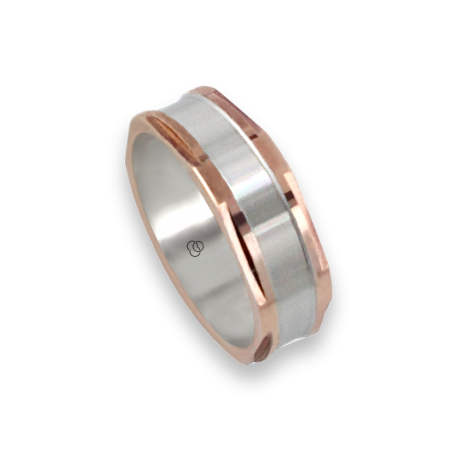 Men ring in rose and white gold - model Polished Hexagonal
