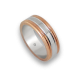 Мужской перстень из белого и розового золота - модель Rose Rows 1
