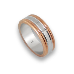 Men ring in rose and white gold - model Rose Rows 1