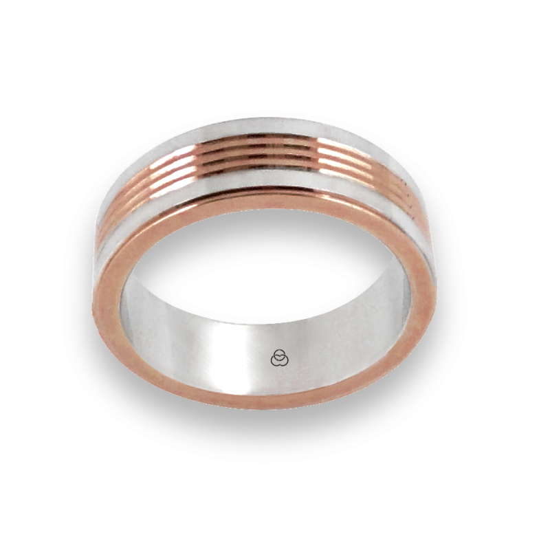 Men ring in white and rose gold - model Rose Rows 2